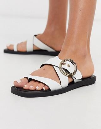 Topshop toe post strappy sandal in white