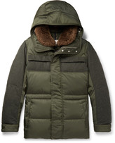 Moncler Shearling-Trimmed Quilted Shell and Wool-Flannel Down Parka