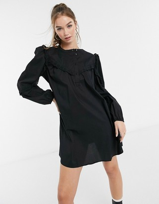 JDY cotton smock dress with frill detail in black