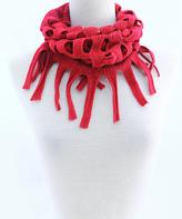 Red Tassel-Trim Baby Infinity Scarf