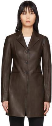 The Row Brown Leather Nedifa Coat