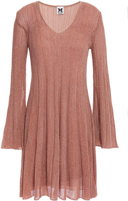 M Missoni Flared Ribbed Metallic Crochet-knit Mini Dress