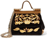 Dolce & Gabbana Sicily Mini Embellished Velvet And Metallic Leather Shoulder Bag - Black