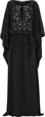 Roberto Cavalli Belted Embellished Silk Crepe De Chine Gown