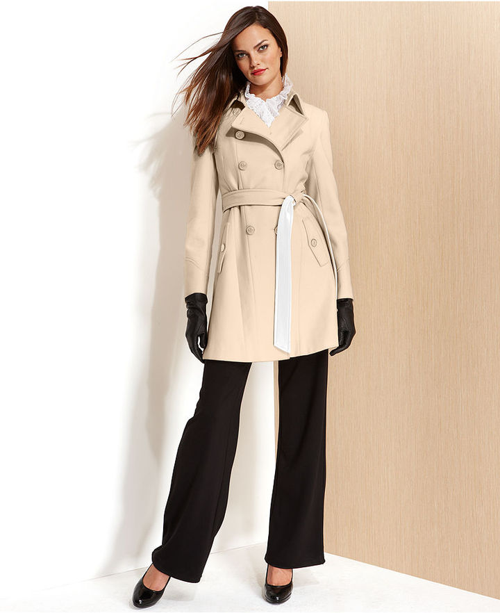 DKNY Coat, Wool-Blend Contrast Belted Trench Coat