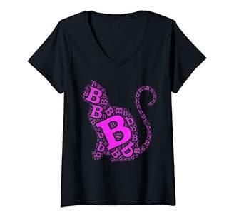 Womens Cat Lover Letter B Personalized Monogram Kitten Cats Gift V-Neck T-Shirt