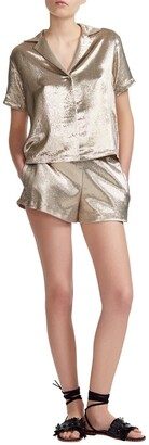 Maje Pajama Style Silk Blend Shorts