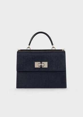 Giorgio Armani Saffiano Leather, Turn-Lock Handbag With Plexiglass Details