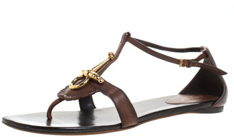 Gucci Brown Leather Horsebit Thong Ankle Strap Flat Sandals Size 38