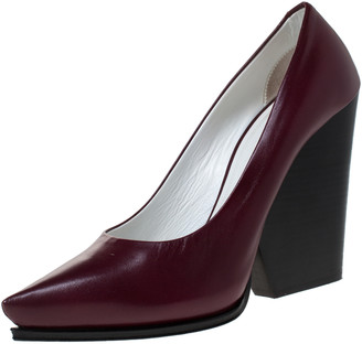 Celine Burgundy Leather Pointed Toe Wedge Pumps Size 38.5