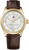 Tommy Hilfiger Men's Table Brown Leather Strap Watch 42mm 1791332