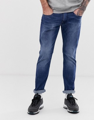 Replay Anbass easy stretch slim jeans in mid wash-Blue