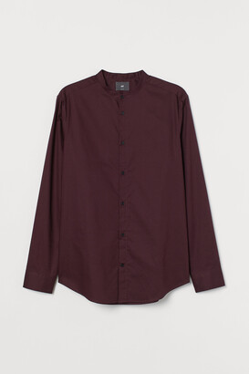 H&M Band-collar Shirt Slim fit