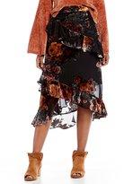 Gianni Bini Sophia Burnout Velvet Tiered Ruffle Midi Skirt
