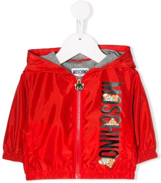 Moschino Kids logo print zip-up jacket