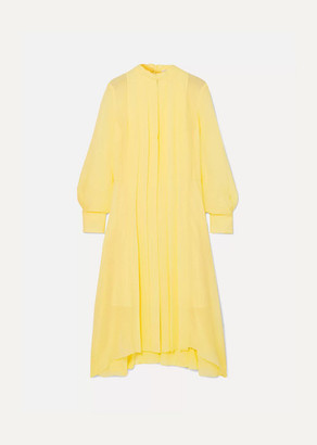 Chloé Pleated Silk-chiffon Dress - Yellow