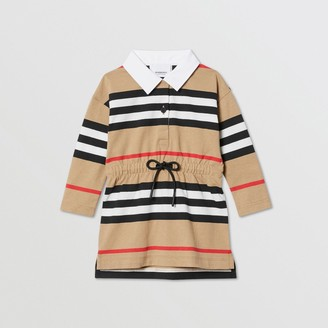 Burberry Childrens Long-sleeve Icon Stripe Cotton Dress
