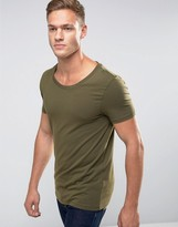 Asos Muscle T-Shirt With Scoop Neck In Green