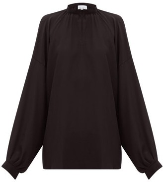 Raey Gathered Balloon-sleeved Silk Crepe De Chine Top - Womens - Black