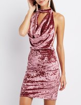 Charlotte Russe Velvet Mock Neck Draped Dress