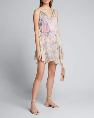 Camilla Embellished V-Neck Mini Dress w/ Elastic Waist