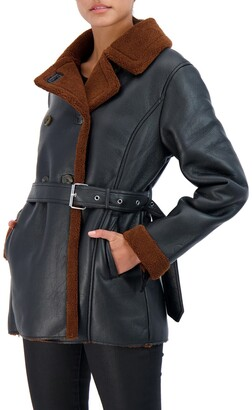 Sebby Collection Belted Button Front Faux Shearling Coat