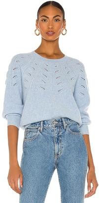 White + Warren Lace Pointelle Crewneck Sweater
