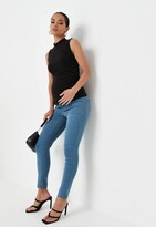 Missguided Blue Over Bump Maternity Skinny Jeans