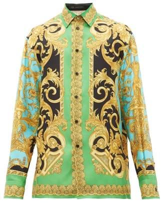 Versace Baroque-print Silk-twill Shirt - Mens - Green Multi