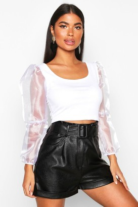 boohoo Petite Organza Volume Sleeve Crop Top