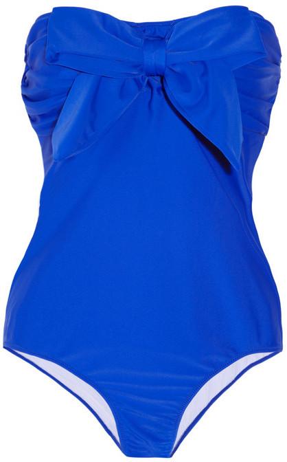 Miu Miu Bow-embellished bandeau swimsuit