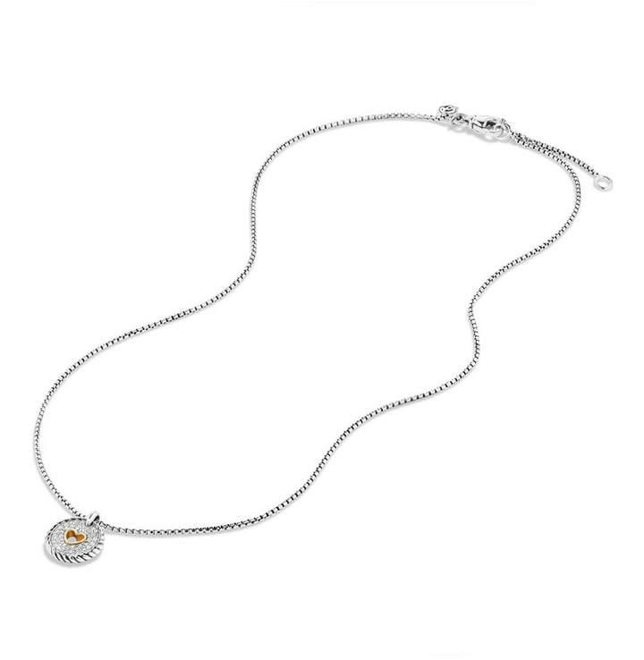 David Yurman Petite Pave Diamond Heart Pendant Necklace