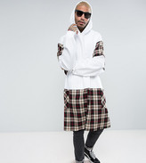 Reclaimed Vintage Inspired Super Oversized Hoodie In White With Plaid Panels