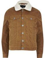 River Island MensBrown fleece lined corduroy jacket