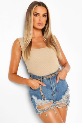 boohoo Square Neck Rib Knit Top