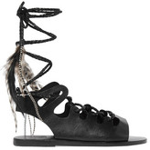 Ancient Greek Sandals + Caravana Antigone Tulum Feather-embellished Leather Sandals - Black