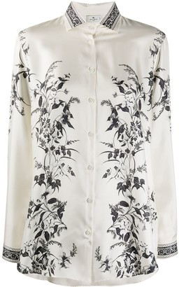 Etro Long Sleeve Floral Print Silk Shirt