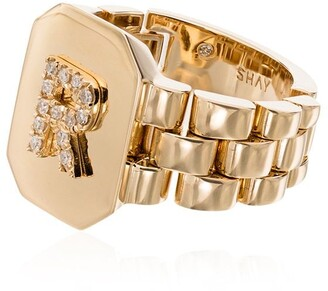 Shay 18kt yellow gold diamond initial R ring
