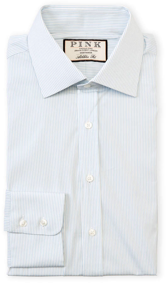 Thomas Pink White & Sky Champers Athletic Fit Dress Shirt
