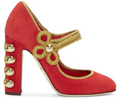 Dolce & Gabbana Red Suede Military Mary-Jane Heels