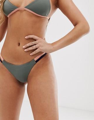 Tavik bikini bottoms in gray with color block
