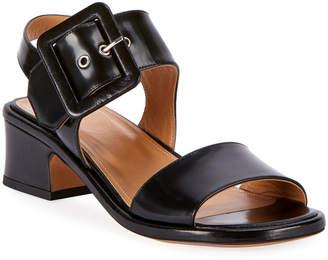 Dries Van Noten Shiny Leather Buckle Sandals