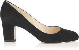 Jimmy Choo BILLIE 65 Black Suede Round Toe Pumps with Chunky Heel