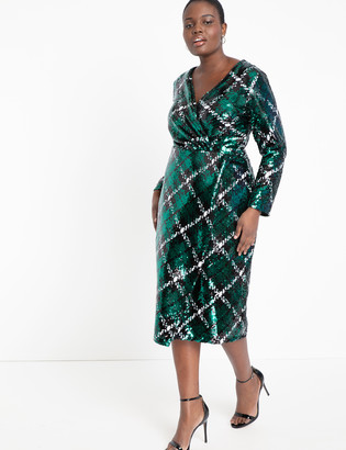 ELOQUII Plaid Sequin Wrap Dress