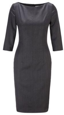 HUGO BOSS Slim Fit Dress In Herringbone Virgin Wool - Patterned