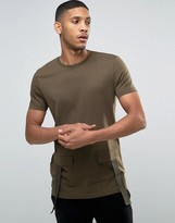 Asos Longline T-Shirt In Heavy Jersey With Military Pockets In Khaki