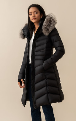 Soia & Kyo LITA knee-length lightweight down coat with removable fur