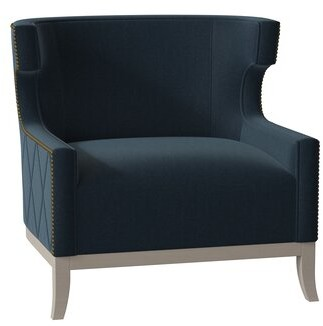 Bernhardt Emma Wingback Chair Body Fabric: 2909-043, Leg Color: Blanca, Nailhead Detail: Nickel