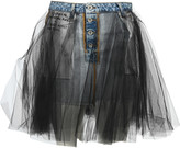 Taverniti So Ben Unravel Project Unravel Tulle Layered Mini Denim Skirt