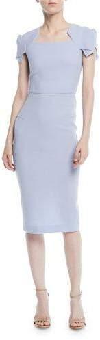 Roland Mouret Square-Neck Cap-Sleeve Sheath Dress